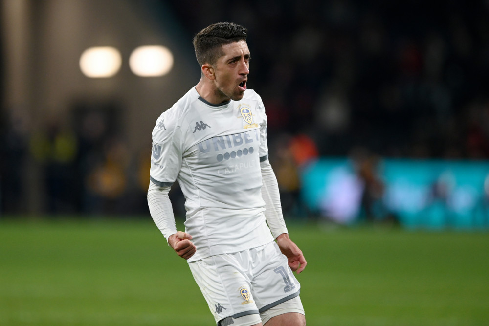 Leeds United midfielder Pablo Hernandez celebrates his goal.